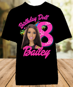Barbie Black Birthday Party Personalized Color T Shirt - All Sizes Available