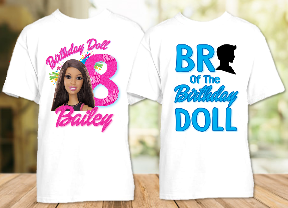 Barbie Black Birthday Party Personalized T Shirt or Onesie - 2 Pack