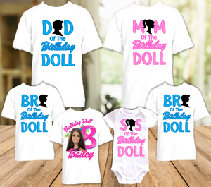 Barbie Black Birthday Party Personalized T Shirt or Onesie - 6 Pack