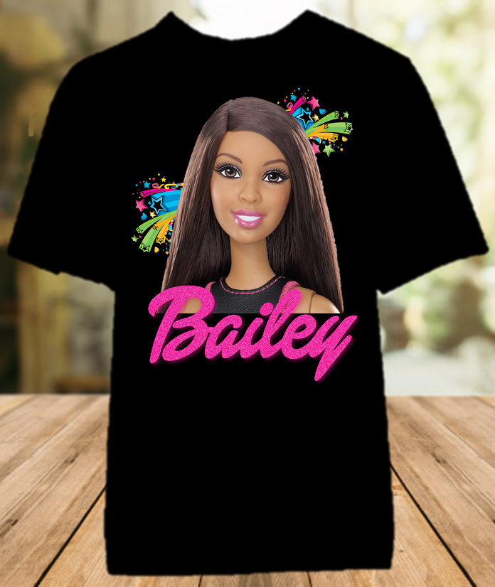 Barbie Black Party Personalized Color T Shirt - All Sizes Available