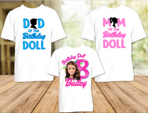 Barbie Brunette Birthday Party Personalized T Shirt or Onesie - 3 Pack