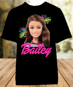 Barbie Brunette Party Personalized Color T Shirt - All Sizes Available