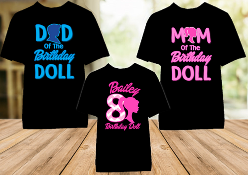 Barbie Silhouette Birthday Party Personalized Color T Shirt - 3 Pack