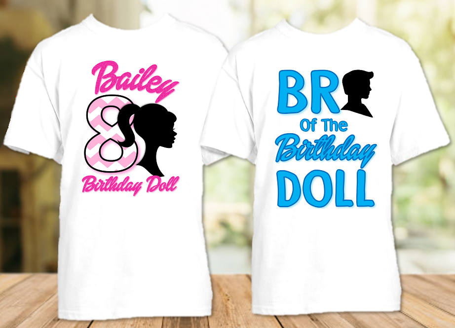 Barbie Silhouette Birthday Party Personalized T Shirt or Onesie - 2 Pack