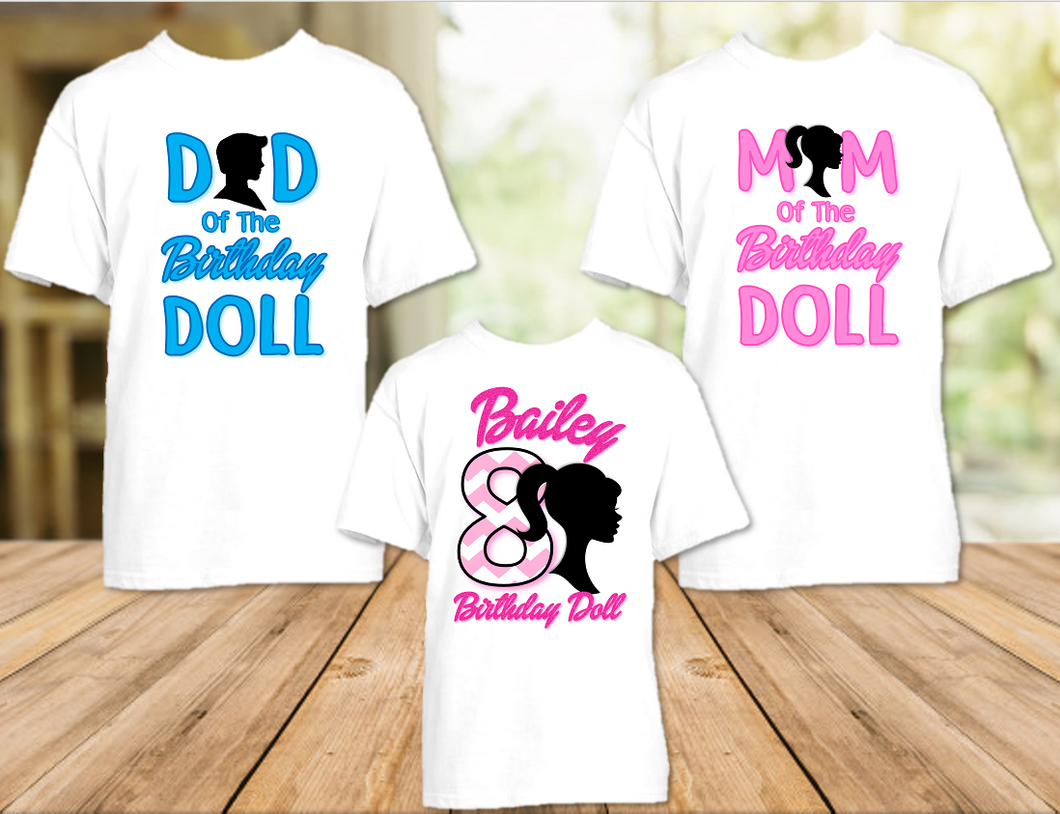 Barbie Silhouette Birthday Party Personalized T Shirt or Onesie - 3 Pack