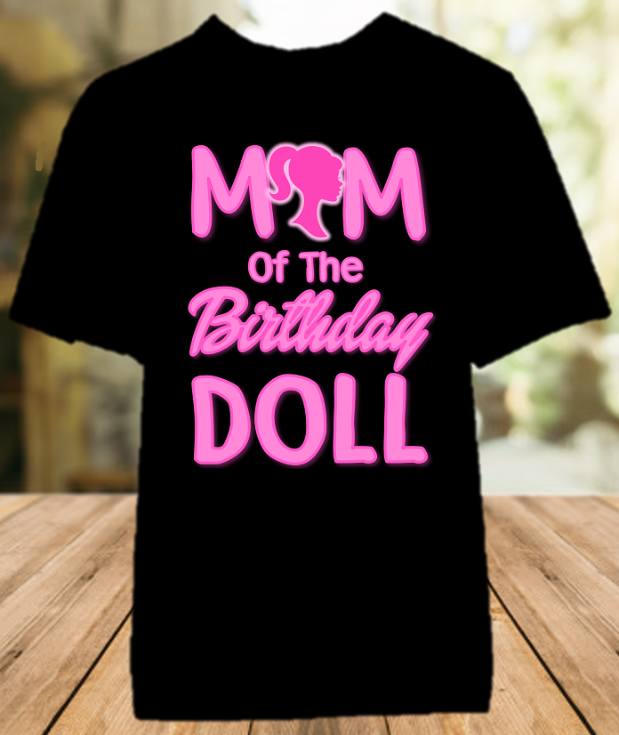 Barbie Birthday Party Personalized Parent Mom Mommy Mother Color T Shirt - All Sizes Available