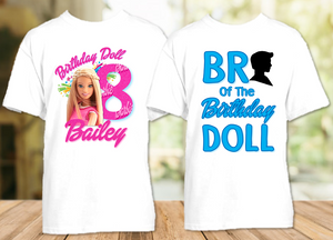 Barbie Blonde Birthday Party Personalized T Shirt or Onesie - 2 Pack