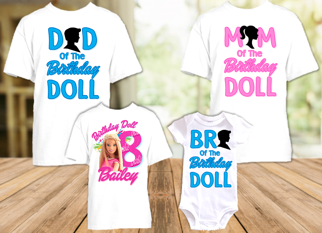 Barbie Blonde Birthday Party Personalized T Shirt or Onesie - 4 Pack