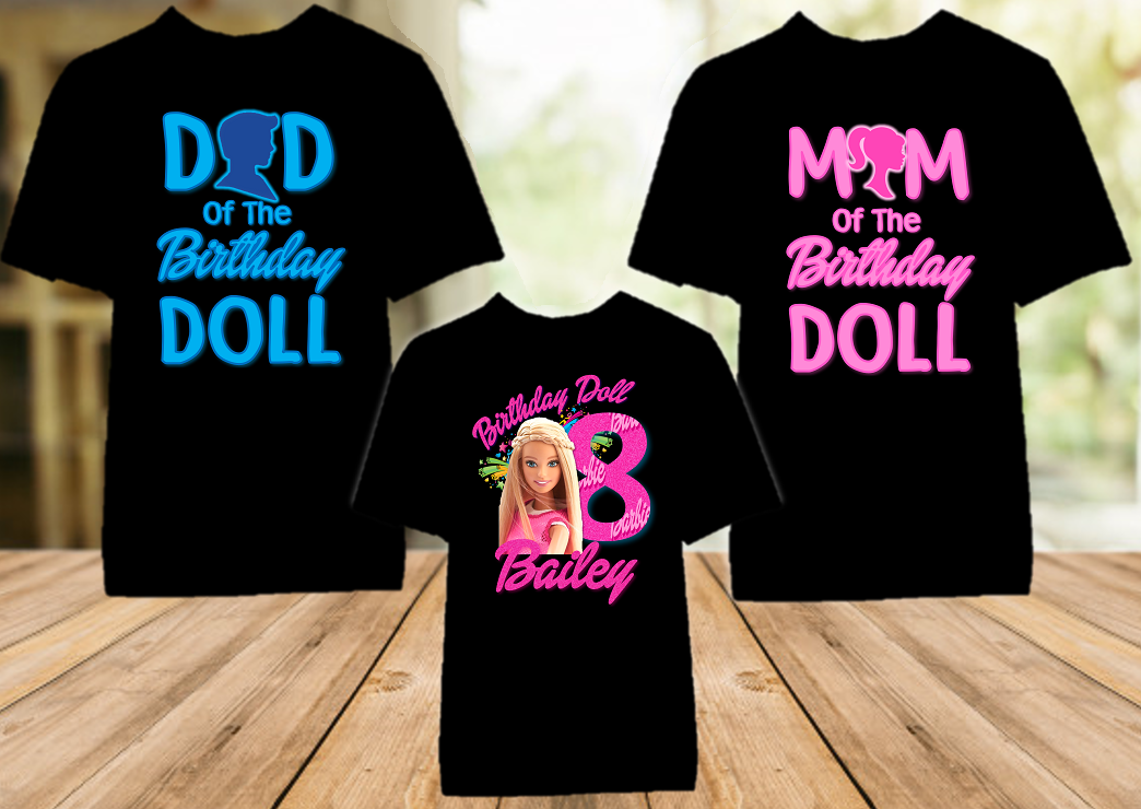 Barbie Blonde Birthday Party Personalized Color T Shirt - 3 Pack