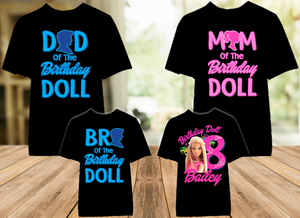 Barbie Blonde Birthday Party Personalized Color T Shirt - 4 Pack