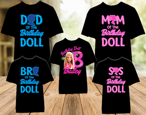 Barbie Blonde Birthday Party Personalized Color T Shirt - 5 Pack