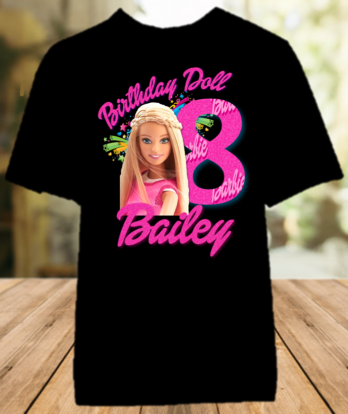 Barbie Blonde Birthday Party Personalized Color T Shirt - All Sizes Available