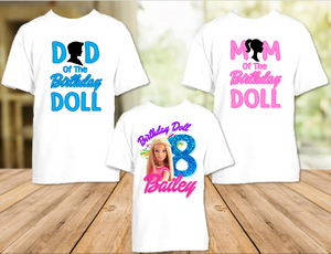 Barbie Blonde Colorful Birthday Party Personalized T Shirt or Onesie - 3 Pack