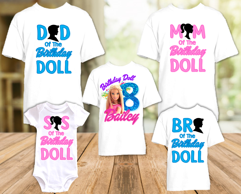 Barbie Blonde Colorful Birthday Party Personalized T Shirt or Onesie - 5 Pack