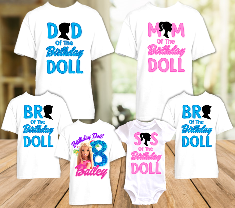 Barbie Blonde Colorful Birthday Party Personalized T Shirt or Onesie - 6 Pack