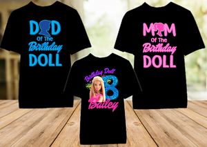 Barbie Blonde Colorful Birthday Party Personalized Color T Shirt - 3 Pack