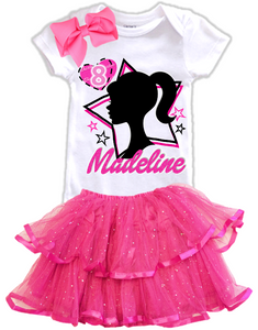 Barbie Silhouette Birthday Party Personalized Glitter Tutu Outfit - All Sizes - BSTIERTO01