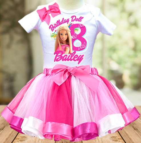 Barbie Birthday Party Personalized Ribbon Tutu Outfit - All Sizes Available - BTO01