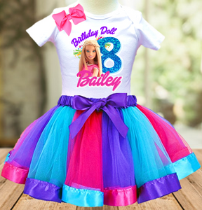 Barbie Blonde Birthday Party Personalized Ribbon Tutu Outfit - All Sizes Available - BTO02