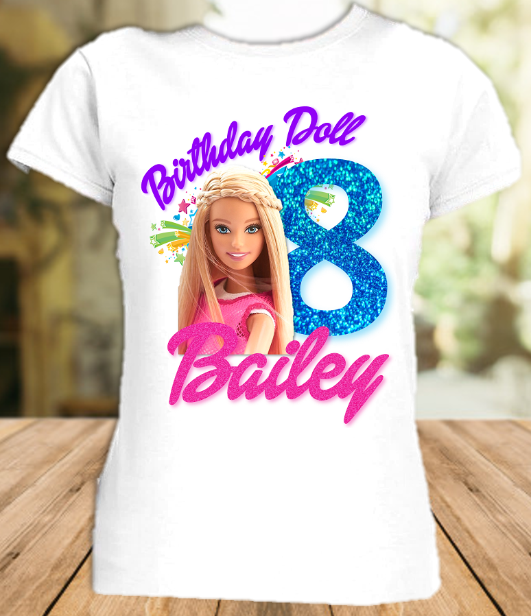 Barbie Blonde Colorful Birthday Party Personalized T Shirt or Onesie - All Sizes - BARBLS1
