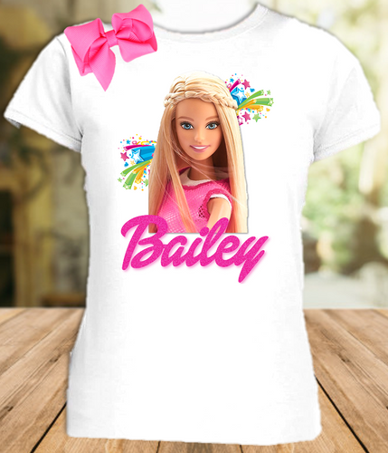 Barbie Blonde Party Personalized T Shirt or Onesie with Hair Bow - All Sizes - BARBLPS1H