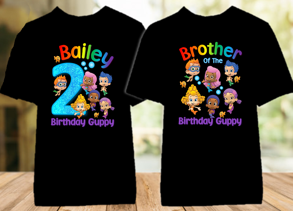 Bubble Guppies Birthday Party Personalized Color T Shirt - 2 Pack - BG2P01