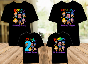 Bubble Guppies Birthday Party Personalized Color T Shirt - 4 Pack - BG4P01
