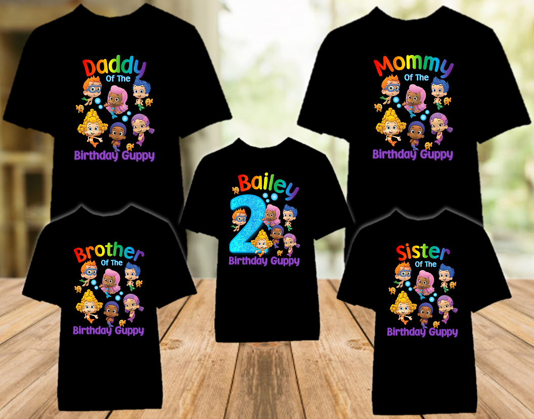Bubble Guppies Birthday Party Personalized Color T Shirt - 5 Pack - BG5P01