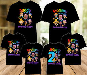 Bubble Guppies Birthday Party Personalized Color T Shirt - 6 Pack - BG6P01