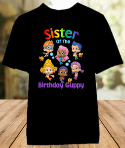 Bubble Guppies Birthday Party Personalized Sibling Sister Color T Shirt - All Sizes Available - BGSS01
