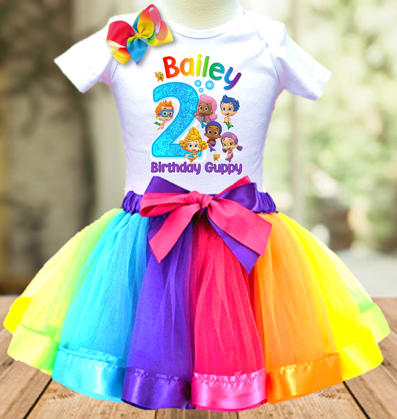 Bubble Guppies Birthday Party Personalized Ribbon Tutu Outfit - All Sizes Available - BGTO01