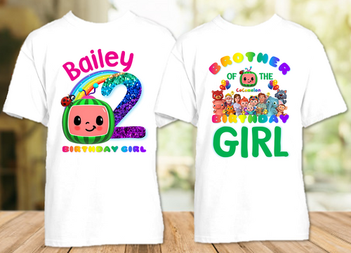 CoComelon Birthday Party Personalized T Shirt or Onesie - 2 Pack - CCML2P