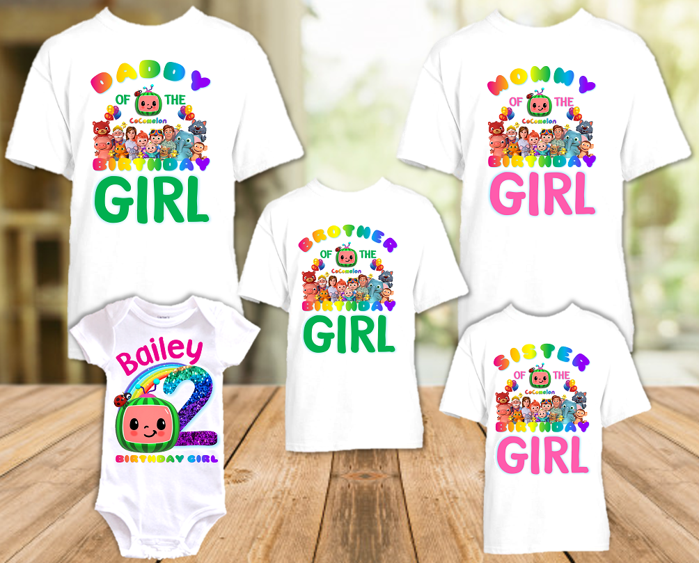 CoComelon Birthday Party Personalized T Shirt or Onesie - 5 Pack - CCML5P