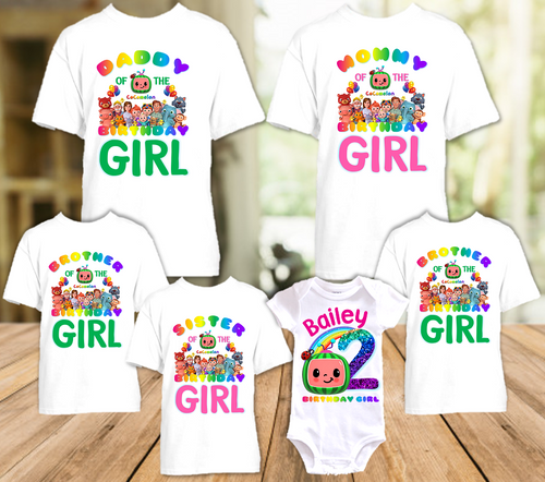 CoComelon Birthday Party Personalized T Shirt or Onesie - 6 Pack - CCML6P