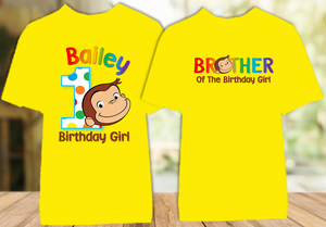 Curious George Monkey Birthday Party Personalized Color T Shirt - 2 Pack - CGC2P