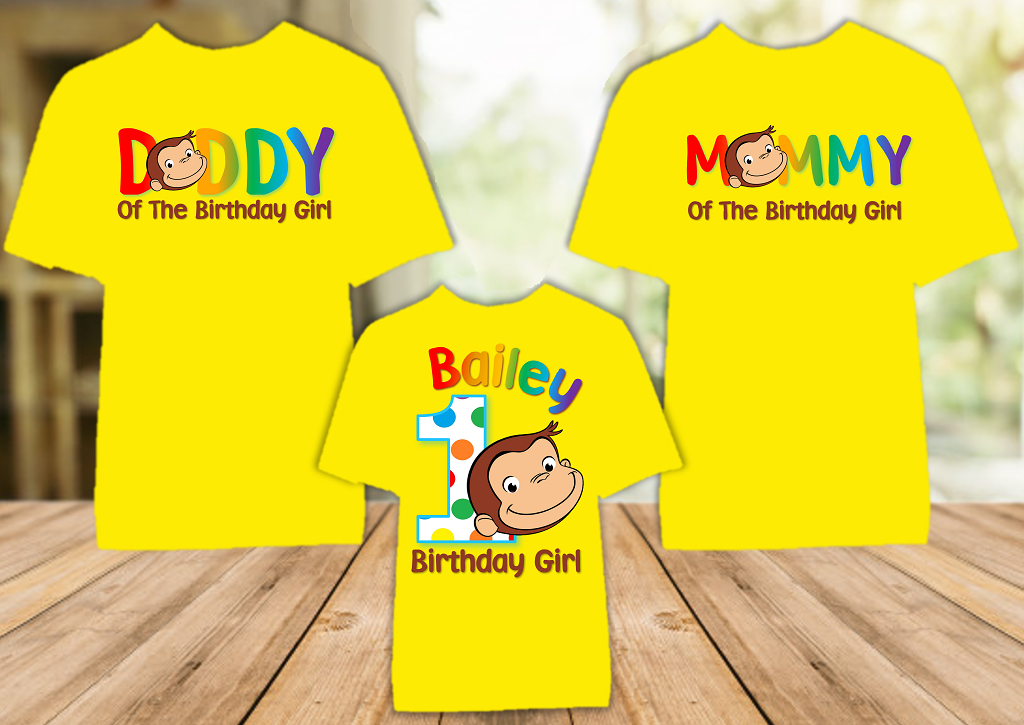 Curious George Monkey Birthday Party Personalized Color T Shirt - 3 Pack - CGC3P