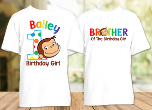 Curious George Monkey Birthday Party Personalized T Shirt or Onesie - 2 Pack - CG2P