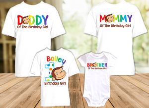 Curious George Monkey Birthday Party Personalized T Shirt or Onesie - 4 Pack - CG4P