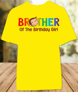 Curious George Monkey Birthday Party Personalized Sibling Brother Color T Shirt - All Sizes - CGCBS1