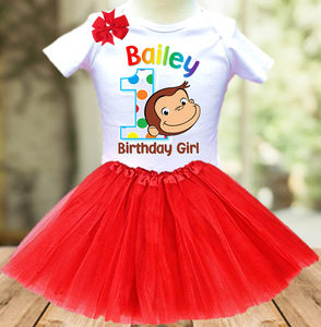 Curious George Monkey Birthday Party Personalized Layer Tutu Outfit - All Sizes Available - CGTO01A