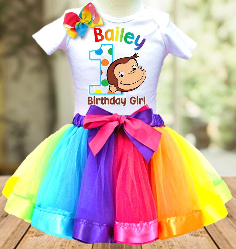 Curious George Monkey Birthday Party Personalized Ribbon Tutu Outfit - All Sizes Available - CGTO01