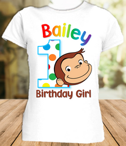 Curious George Monkey Birthday Party Personalized T Shirt or Onesie - All Sizes - CGS1