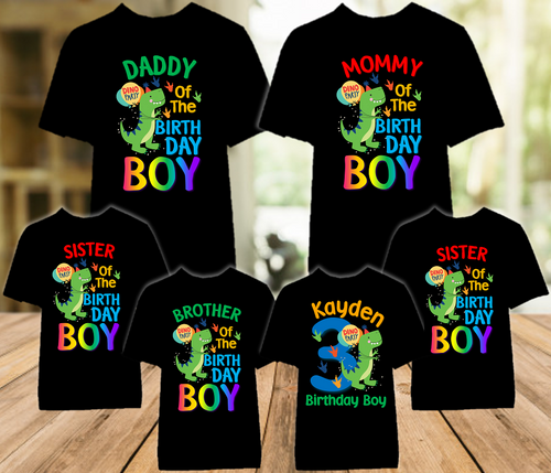 Dino Mite Dinosaur T Rex Birthday Party Personalized Color T Shirt - 6 Pack - DMTC6P