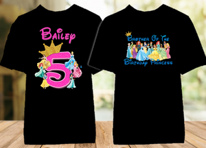 Disney Princesses Birthday Party Vacation Personalized Color T Shirt - 2 Pack - DPC2P
