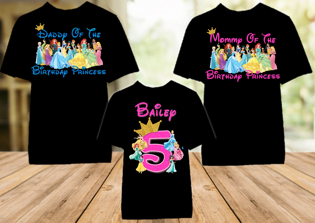 Disney Princesses Birthday Party Vacation Personalized Color T Shirt - 3 Pack - DPC3P