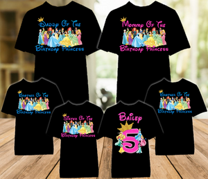 Disney Princesses Birthday Party Vacation Personalized Color T Shirt - 6 Pack - DPC6P