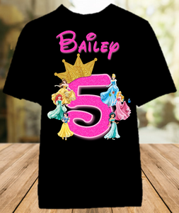 Disney Princesses Birthday Party Vacation Personalized Color T Shirt - All Sizes - DPCS1