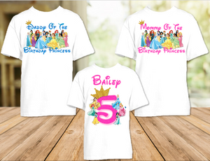 Disney Princesses Birthday Party Vacation Personalized T Shirt or Onesie - 3 Pack - DP3P