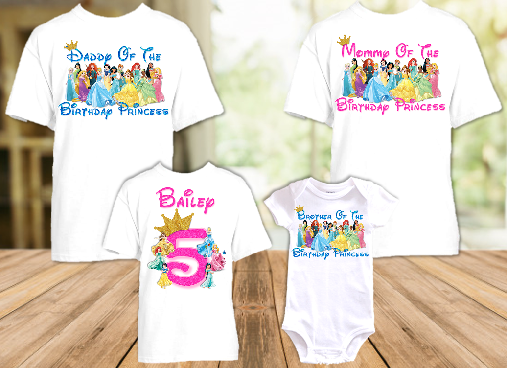 Disney Princesses Birthday Party Vacation Personalized T Shirt or Onesie - 4 Pack - DP4P