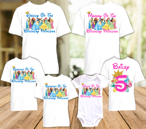 Disney Princesses Birthday Party Vacation Personalized T Shirt or Onesie - 6 Pack - DP6P